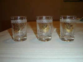 Vintage set of 3 juice or mix glasses gold cornflower white etch - $3.71