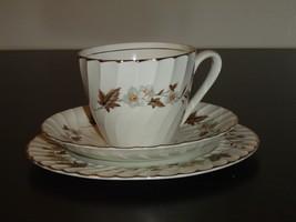 H. Aynsley 34 brown leaf flower snack set VGU (159AtoC) - $19.99