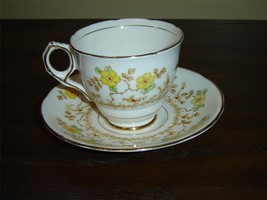 Royal Stafford 8030 yellow red flower cup and saucer (1A) - $11.99