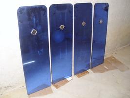 Set of 4 Art Deco Blue Glass Mirrors - $175.00