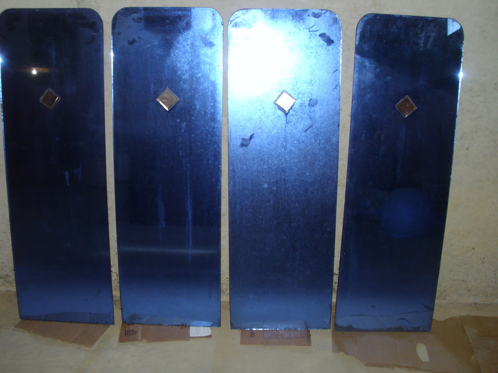 Set of 4 Art Deco Blue Glass Mirrors