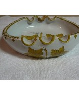 Gold White Pottery Ashtray Made in Italy - $8.00