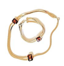 Vintage Gold Tone Amber Glass Cabochon Link Necklace And Matching Bracel... - $24.74