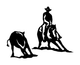 "LARGE 10"" CATTLE CUTTING HORSE RIDER Decal Car Truck Window Trailer Mirr... - $12.00"