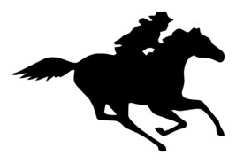 "LARGE 10"" Cowboy Riding Running Horse Decal Vinyl Window Trailer Auto Ve... - $12.00"