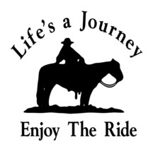 "LARGE 10"" LIFE'S A JOURNEY Trail Horse Cowboy Girl Decal Truck Trailer W... - $12.00"