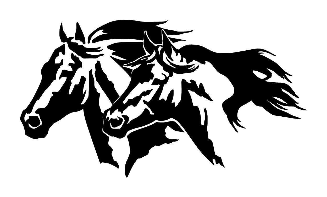 Large 10 Quot Horse Heads Equestrian Cowboy Decal Truck Window