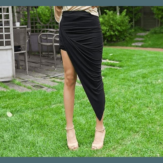 Sexy Hi Low Asymmetrical High Waist Skirt
