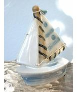 "Porcelain ""LI'L BLUE SAILBOAT"" Nautical Figurine - GREAT! - $4.99"