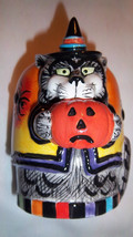 Fitz & Floyd KITTY WITCHES Candle Cup Black Cat Spider Orange Pumpkin NI... - $24.25