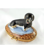 Limoges Box - Artoria Dachshund Dog in Wicker B... - $135.00