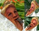 Vintage hand carved wood folk  art man pipe brooch pin pendant thumb155 crop