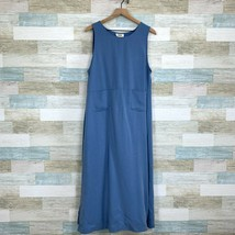 Talbots Vintage 90s Pinafore Jumper Maxi Dress Blue Tencel Casual Womens... - $54.44