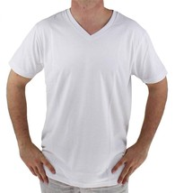 NEW GIOBERTI MEN'S PREMIUM ATHLETIC CLASSIC V NECK T-SHIRT TEE WHITE VN-9503