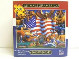 Animals Of America 500 Pc Puzzle Dowdle Folk Art Eagle Buffalo Turkey De... - $27.71