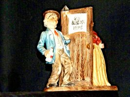 Man and Woman Figurine with God Bless Our Home AA19-1652 Vintage image 5