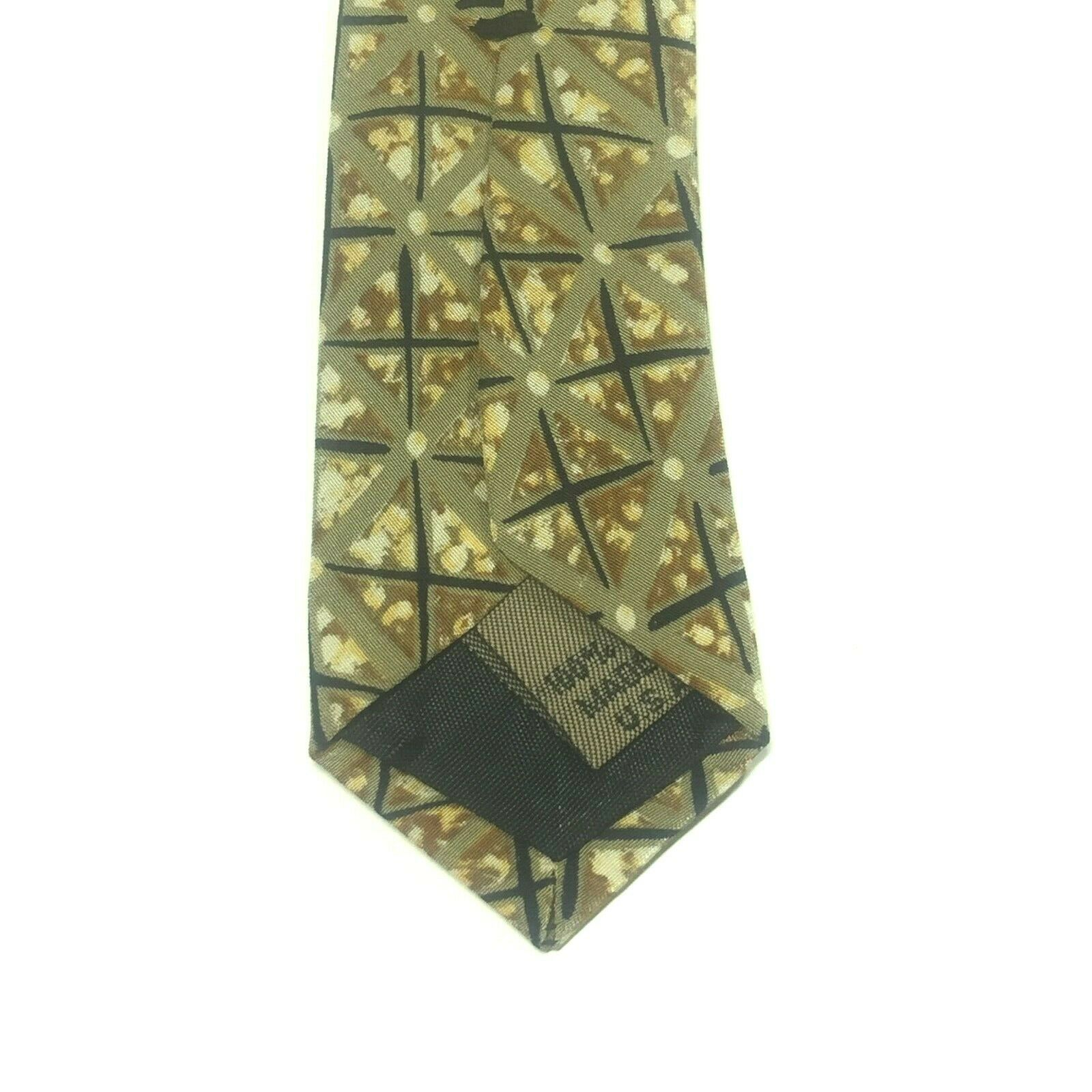 "Structure Men's Tie, 3.75"" X 58"" Necktie, 100% Silk, Brown Geometric Print image 4"