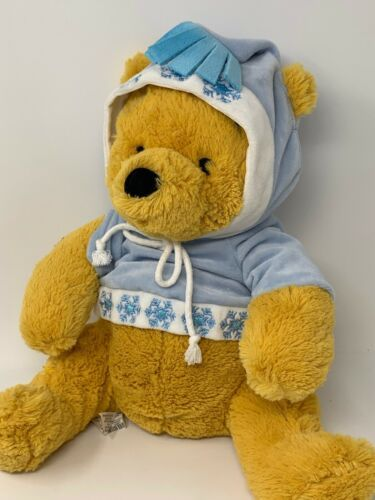 "Primary image for Disney Store Plush Nordic Winnie Pooh in Snowflake Hoodie 12"" Soft Stuffed Toy"