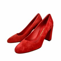 Salvatore Ferragamo Arezzo 85 Suede Pump Size 7 B Red High Heels Block S... - $129.99