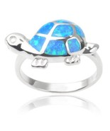 925 Sterling Silver Hawaiian Fire Blue Inlay Opal Lovely Turtle Ring - $28.95