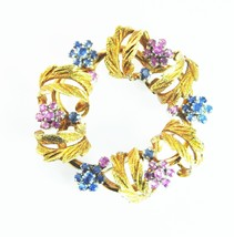 Beautiful Antique 18k Pink & Blue Mine Cut Sapphire Floral Wreath Brooch... - $2,598.15