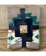 Pendleton Jacquard Throw Blanket Avra Valley Gray Teal Green Cotton Blan... - $69.29