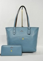 SET of Coach 18904 Snoopy City Zip Tote and Slim Accordian Wallet in Oce... - $439.00