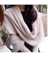 Winter Scarves With Sleeves Women Knitted Long Wool Thick Solid Wrap Sha... - $18.99