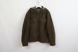 Mountain Hardwear Mens Large Fleece Lined Full Zip Hooded Utility Jacket Brown - $53.41