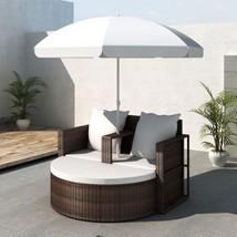 Lounge Set Sunbed Sofa w/ Parasol Furniture Rattan & Wicker Patio Outdoo... - $458.70
