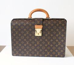 Auth Louis Vuitton Serviette Fermoir Brown Monogram Canvas Briefcase Vin... - $1,100.00