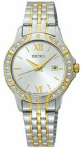 Seiko SUR864 Watch Crystal Accents Two Tone Gold Silver Stainless Steel ... - $235.00