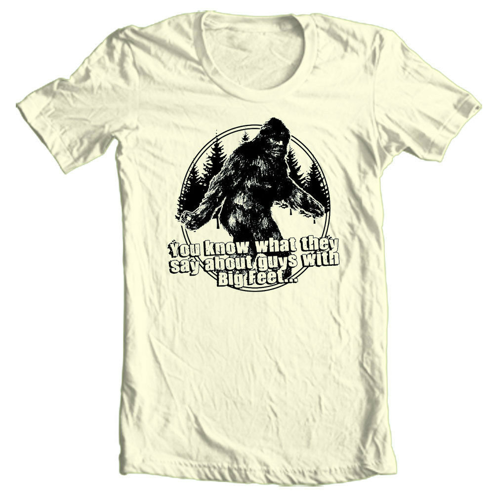 Sasquatch T-shirt Big Foot Guys funny novelty graphic printed 100% cotton tee