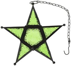 Glass Star Hanging Candle Lantern - Green - $20.69