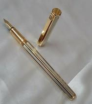 Caran d'ache Hexagonal Gold Plated Fountain Pen 18k Medium Gold Nib  - $347.55