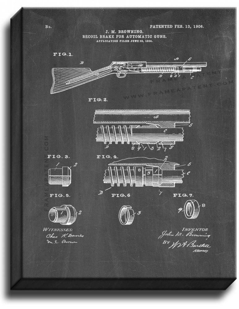 Primary image for Browning Recoil-brake For Automatic Guns Patent Print Chalkboard on Canvas