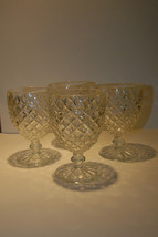 "CRYSTAL GOBLETS DIAMOND WATER WINE GLASSES SET 4 FOUR VGC GLASS 5"" H x 3... - $29.99"
