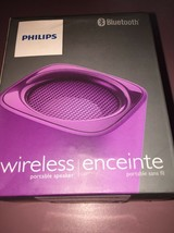 Philips Bluetooth Portable Speaker Purple Wireless Rechargeable BT100V/27 - $15.68