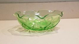Vintage Hazel Atlas Diamond Arches Vaseline/Uranium Green Bowl - $9.85