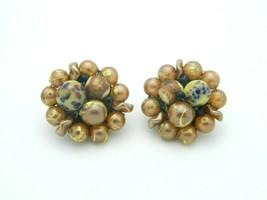Japan Gold Blue Art Glass Bead Beaded Clip-On Earrings Vintage Gold Tone - $13.86