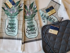 KITCHEN LINENS SET 6pc Home Sweet Home Towels Cloths Potholders Lavender... - $18.99