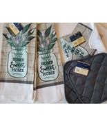 KITCHEN LINENS SET 6pc Home Sweet Home Towels Cloths Potholders Lavender... - $18.99