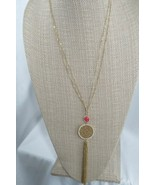 Necklace INC Gold Plated Pink Stone Filigree Tassel Pendant Necklace - $15.82