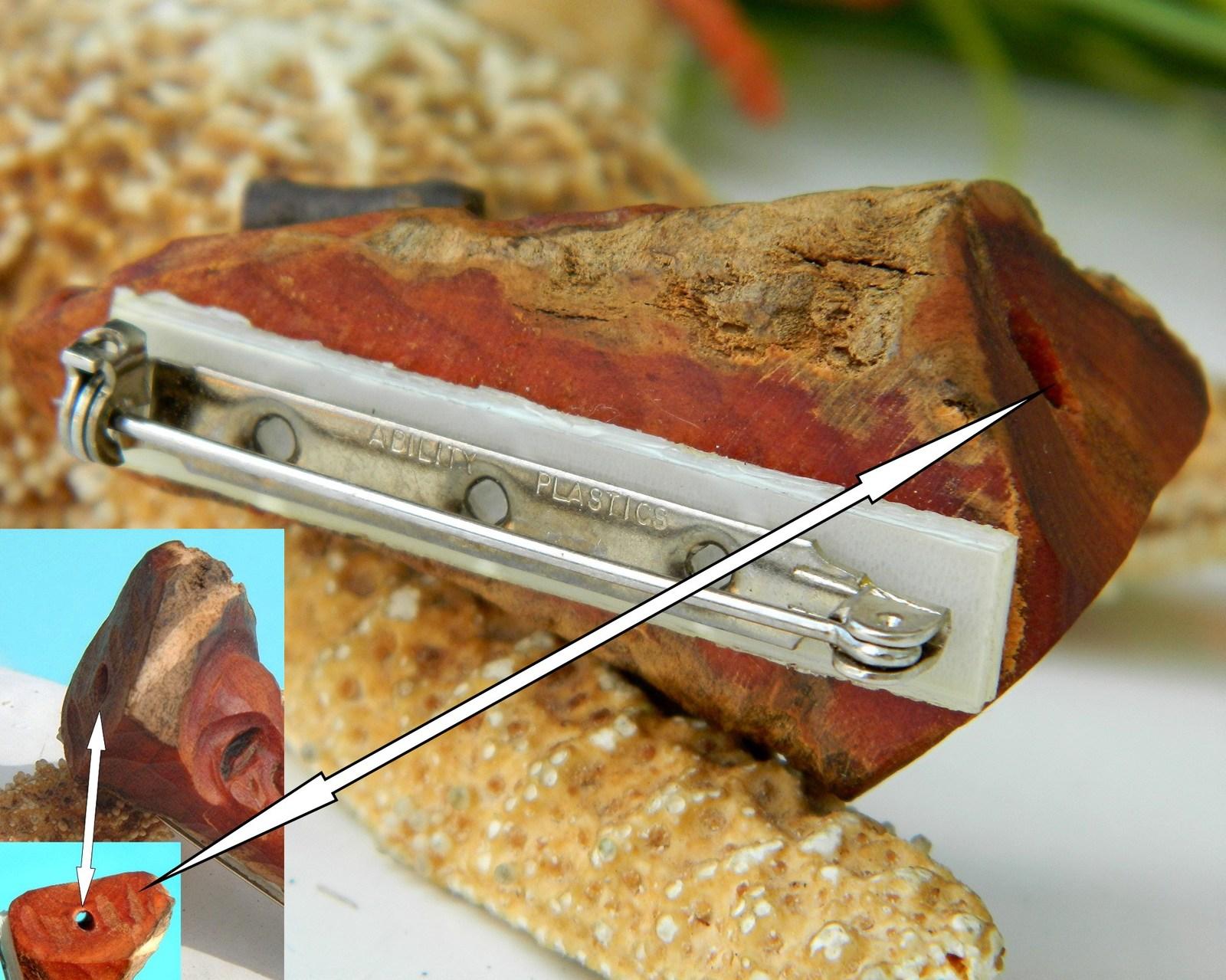 Vintage Hand Carved Wood Folk Art Man Face Brooch Pin Pendant