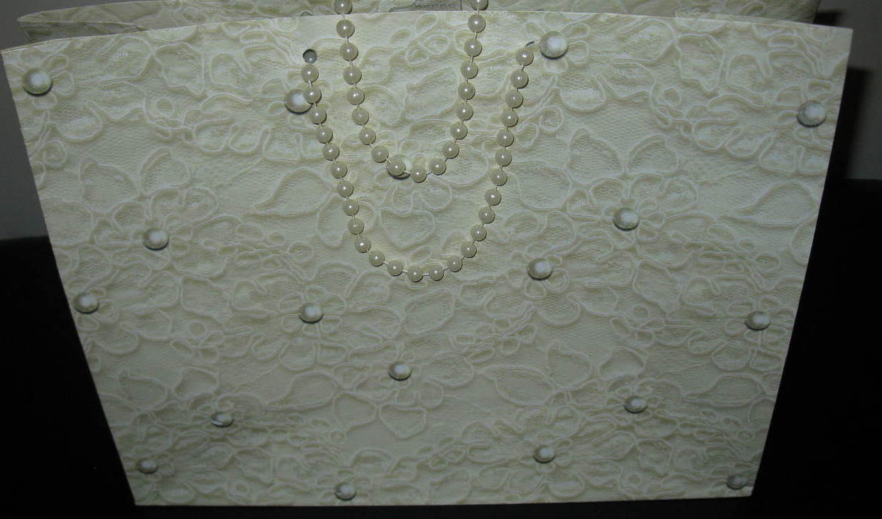Gift Bag with Faux Pearl Handles