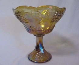 INDIANA GLASS HARVEST GRAPE AMBER CARNIVAL LARGE COMPOTE SCALLOPED EDGE TOP - $15.99