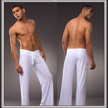 Men's Luxury Ice Silk Lounger Trousers Pajama Bottom Pants - $42.95