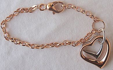 Primary image for  Silver and cooper hearts bracelet