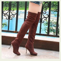 "Over The Knee Scrunchy Stretch Faux Leather Suede 3"" High Heel Stiletto Boots"