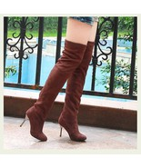 "Over The Knee Scrunchy Stretch Faux Leather Suede 3"" High Heel Stiletto ... - $52.95"